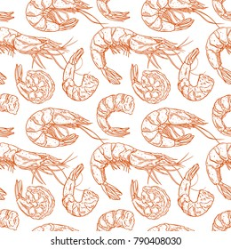 Cute seamless background of cooked different shrimps. Hand-drawn illustration