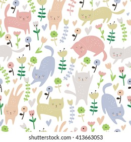 Cute seamless background with funny cats and flowers in cartoon style