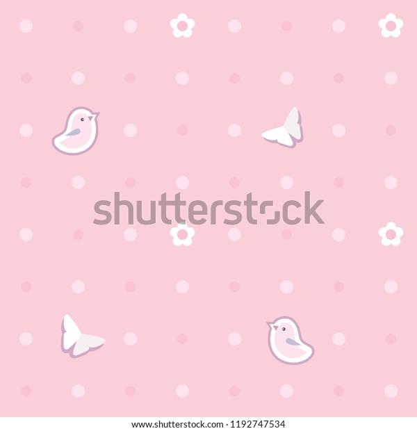 Cute Seamless Background Pink Birds Butterflies Stock Vector Royalty Free 1192747534