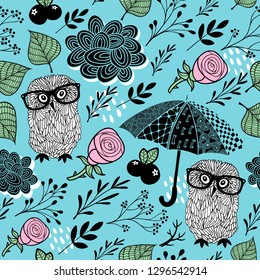 Cute seamless background with smart owls and umbrellas. Vector pattern.