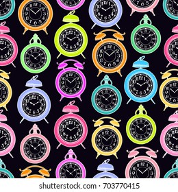 cute seamless background of varicolored vintage clock. hand-drawn illustration