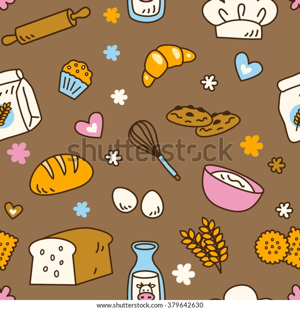 Cute Seamless Bakery Pattern Brown Background Stock Vector Royalty Free 379642630