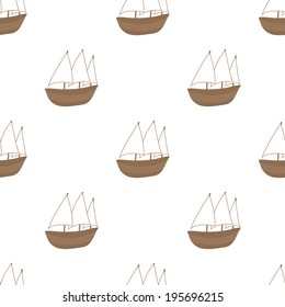 Cute seamless boat white and brown pattern