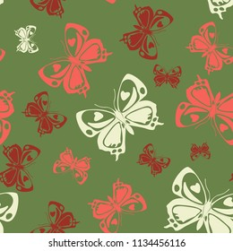 Cute seamless butterfly iterative template isolated on contrast back layer. Wildlife butterfly repeat theme vector. Wildlife insect fauna backdrop for advertising.