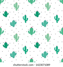 Cute seamless cactus pattern background. Vector illustrations for gift wrap design.