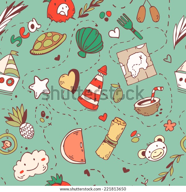 Cute seamless cartoon pattern with pirate treasure map,sea life,ship,fruits, parrot and monkey