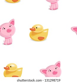 Cute seamless childish pattern with pig and duckling