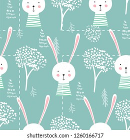 Cute seamless childish pattern vector illustration with bunny. Creative scandinavian style kids deisgn texture for wallpaper, apparel, fabric, wrapping, textile, posters, cards, t-shirts