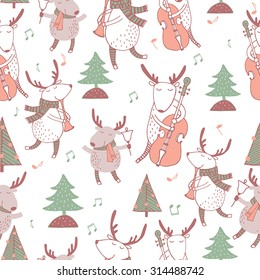 Cute seamless christmas pattern with holiday elements with deers and music. Lovely cartoon background.