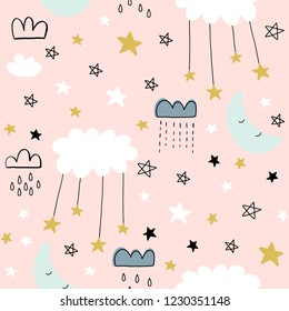 Cute seamless clouds and stars pattern for kids, baby apparel, fabric, textile, wallpaper, bedding, swaddles, nightwear and sleepwear, pajamas