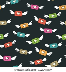 Cute seamless color pattern with flying love letters. Vector illustration