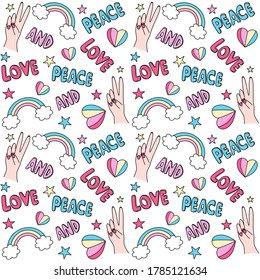 Cute seamless colorful vector pattern background illustration with peace and love lettering text and symbols: hearts, rainbows, female hands and stars
