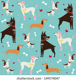 Cute seamless dogs pattern