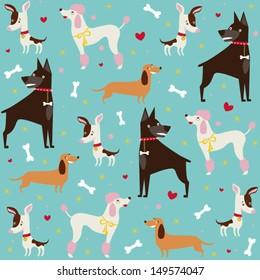 Cute seamless dogs pattern