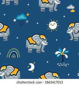 Cute Seamless Elephant Vector Pattern. Weather Elements and Elephants. Doodle Cartoon Animals Colorful Background for Kids. Children's wallpaper