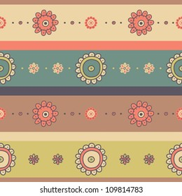 Cute seamless floral pattern with flowers and stripes