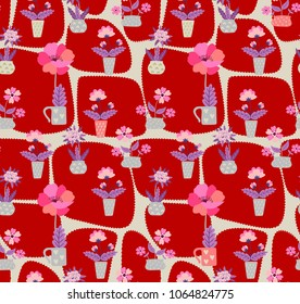 Cute seamless floral pattern with homeplants in funny flowerpots on red patchwork background. Vector illustration.