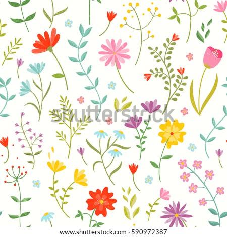 Cute Seamless Floral Print Spring Flowers Stock Vektorgrafik