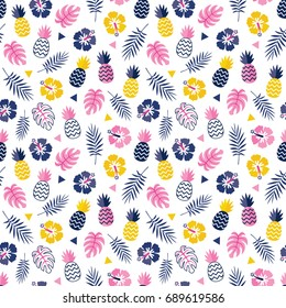 Cute seamless floral vector background pattern with hibiscus flowers, pineapples and tropical leaves in pink, yellow and navy blue. For greeting cards, gift wrapping paper, textiles and wallpapers.