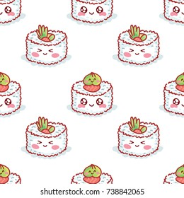 Cute seamless food pattern with characters: sushi with googly eyes, rolls, wasabi. Hand drawn backdrop texture design for web, print and textile in geometric cartoon, doodle style on white
