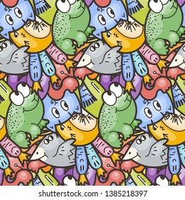 Cute seamless forest pattern with mushrooms, frogs, birds and cats. Nice for prints, design, colorings, cards, textile. Vector illustration