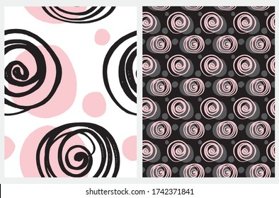 Cute Seamless Geometric Vector Patterns. Black Hand Drawn Swirls and Pink Spots Isolated  on a White Background. Black Backdrop with Pink Circles. Simple Abstract Vector Prints Ideal for Fabric, Wrapp