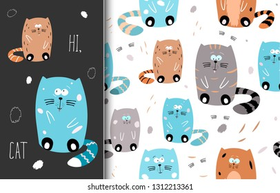 Cute seamless hand drawn pattern with funny cats, doodle animals, childish texture. Vector.