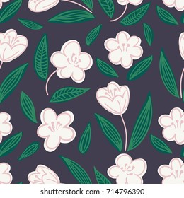 Cute seamless hand-drawn floral pattern with white apple or cherry flowers on black background. Vector illustration