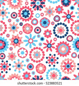 Cute seamless hand-drawn pattern with flowers & dots. Retro vector floral background.