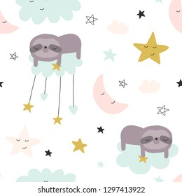 Cute seamless magic clouds for kids, baby apparel, fabric, textile, wallpaper, bedding, swaddles, Scandinavian style for clothes, swaddles, apparel, planner, sticker
