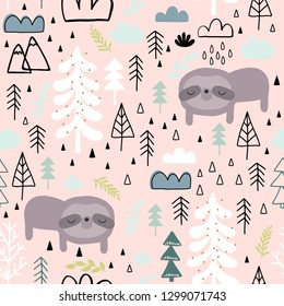 Cute seamless magic forest pattern for kids, baby apparel, fabric, textile, wallpaper, bedding, swaddles with unicorn, Scandinavian style for clothes, swaddles, apparel, planner, sticker