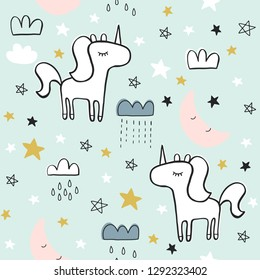 Cute seamless magic forest unicorn pattern for kids, baby apparel, fabric, textile, wallpaper, bedding, swaddles with unicorn, Scandinavian style for clothes, swaddles, apparel, planner, sticker