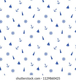 Cute seamless marine pattern with anchor, lighthouse, steering, boat. Ornament for design fabric, clothes, textile, wrapping paper. Vector illustration.