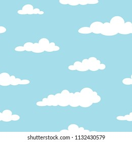 Cute seamless ornament with white clouds on powder blue background. Overcast pattern. Vector illustration. Cartoon weather wallpaper. Funny nature  backdrop.