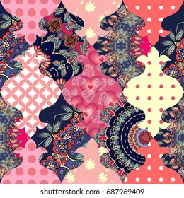 Cute seamless patchwork background in vector. Stylized image of small samovars.
