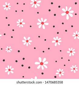 Cute seamless pattern with abstract flowers and round spots. Girly floral print. Vector illustration.