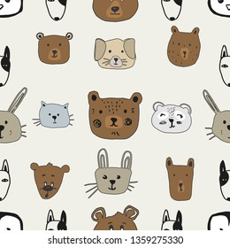 Cute seamless pattern with animals in cartoon style. Pattern baby. Animals. Cute design.  Grey background. Creative childish background.