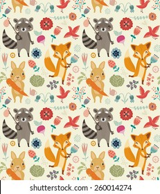 Cute seamless pattern with animals and flowers