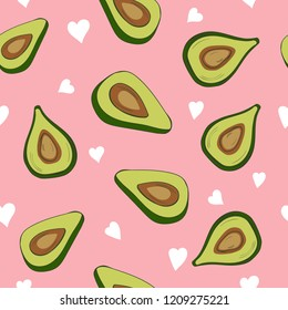Cute seamless pattern with avocados and small hearts