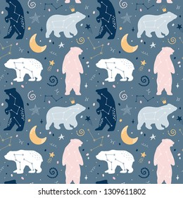 Cute seamless pattern with bears on the sky. Constellations, stars. Vector illustration. Children's background. Approach for printing on wallpaper, textile, fabric, paper.