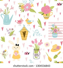 Cute seamless pattern with birds family rabbits nesting box spring tulips nature flowers bouquet plant in pot Stylish floral background Childish vintage design wallpaper Vector illustration.