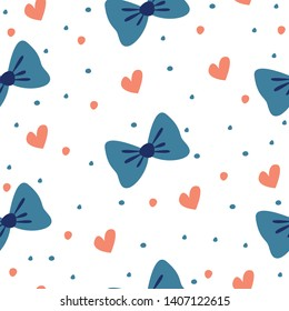 cute seamless pattern with bows and hearts. vector image. can be used as packaging paper, textile, background, walpaper and other design.