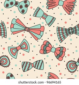 Cute seamless pattern with bows. Vector illustration