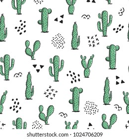 Cute seamless pattern with cactus and abstract elements. Repeating hand drawn background in the bohemian style. Trendy vector design