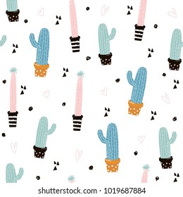 Cute seamless pattern with cactus. Vector hand drawn illustration.