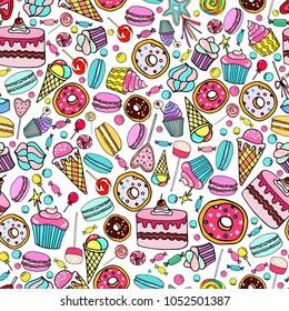 Cute seamless pattern with candy, ice cream, candy, donuts, cupcake, macaroons and other sweets