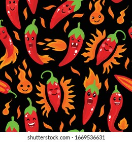 Cute Seamless Pattern With Cartoon Emoji Chili Peppers. Vector illustration on black background
