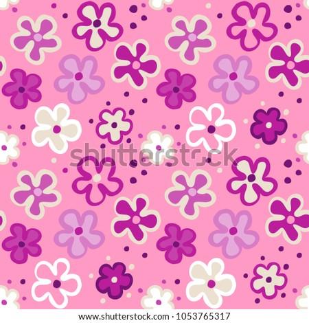 Cute seamless pattern cartoon flowers on stock vector royalty free cute seamless pattern with cartoon flowers on a pink background vector seamless floral texture mightylinksfo
