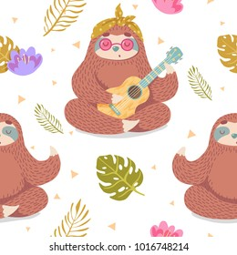 cute seamless pattern with cartoon sloth in lotus pose and playing ukulele with tropical leaves and flowers