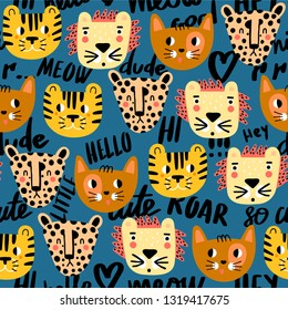 Cute seamless pattern with cat, tiger, lion and jaguar. Creative vector childish background for fabric, textile, nursery wallpaper. Vector Illustration. Dark blue background. - Vector
